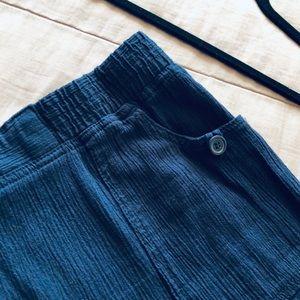 ⭐️Cotton Textured Capri Navy Pants Plus Size🌷